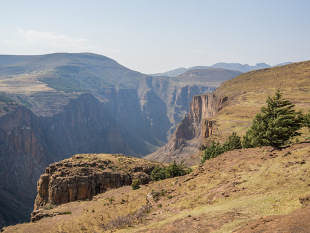 Landscape view over deep canyon in the mountains of Lesotho near Semonkong, Southern Africa