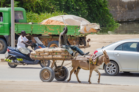 Nouakchott, Mauritania - October 08 2013: Street scene with vehicles and donkey cart
