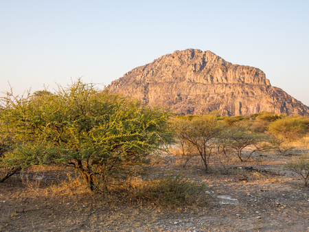 Tsodilo Hills heritage site in the kalahari of Botswana during the golden hour