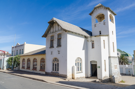 Luderitz, Namibia - July 08 2014: Historic white church housing Ministry of Envrionment and Tourism Editorial
