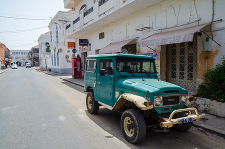 Classic Toyota Land Cruiser 40 series offroad vehicle in street of Saint-Louis Editorial