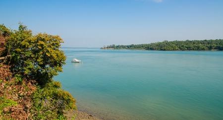 Scenic view over ocean and neighbour island of Bubaque, Bijagos Archipelago, Guinea Bissau