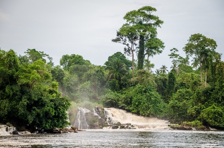 Famous Lobe Falls at Kribi, Cameroon, one of the few waterfalls in the world to fall into the sea.