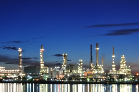 oil refinery: Oil refinery at morning twilight