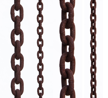 lock and chain: old chain with rust over a white background