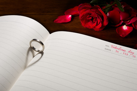 heartiness: The shadow of ring is heart on a book. Stock Photo
