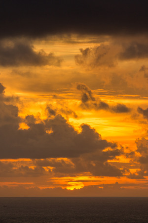 sun drop: Sun drop on gold sky and cloudy. It is beautiful background.