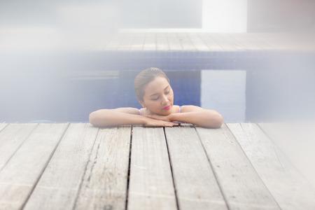 aqua naked: Women spa in pool. She sleeping and joyful.