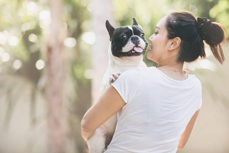 cute girl: French bulldog is cute kissing girl. She carry on a dog.