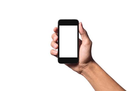 manos: Mano que sostiene el tel�fono inteligente para hacer algo.