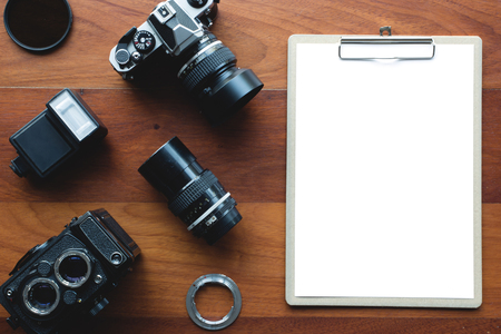 old tools: White paper board and photography tool. Concept for application form or other message. Stock Photo