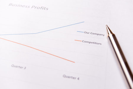 net income: Report of success business profits and pen. Stock Photo