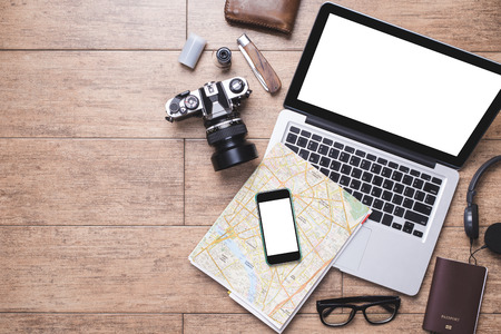 computer equipment: Laptop, Smartphone and accessories for travel concept. Stock Photo