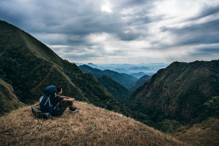 The man on top of mountain. Location in Tak Thailand. Stock Photo
