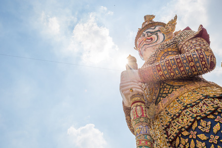 power giant: Giant statue in temple of thailand. This is a symbol of bangkok.