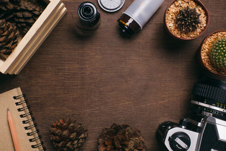 flatly: Camera, film, cactus, pine cones, notebook and pencil on wooden background. Concept for vintage photographer and hipster. Stock Photo