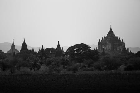 destinations: Landscape of pagoda in Bagan, Myanmar. Popular destinations for travel.