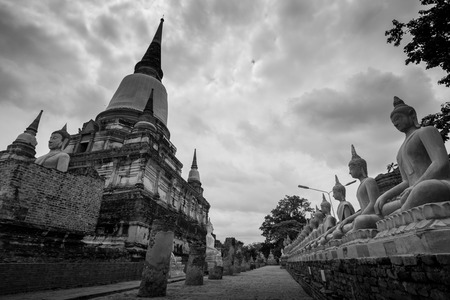 yai: Old Temple Architecture , Wat Yai Chai Mongkol at Ayutthaya, Thailand, World Heritage Site.  This location is popular destinations in Thailand. Stock Photo