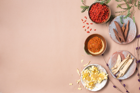 Chinese herbs with copy space and flat lay composition.