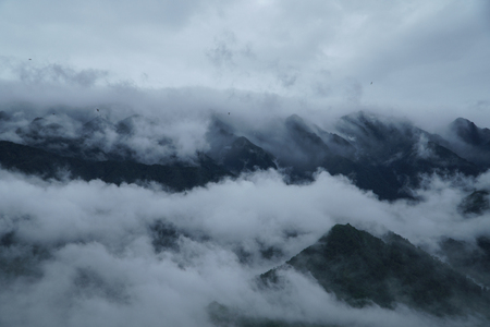 Landscape of mountain and cloudy sky.