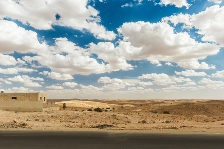 matmata: Road passes through rocky Sahara desert, Tunisia. Africa