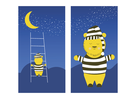 Cute Bear is climbing the moon. Sleepy bear is preparing to climb the moon to sleep. Vector flat cartoon illustration. Ilustrace