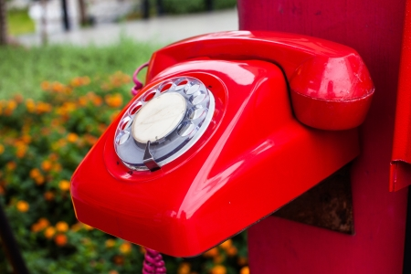 Red telephone in the garden. Stock Photo