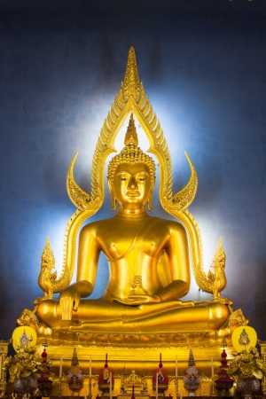 Golden buddha image in the ubosot Wat Benchamaborpit photo