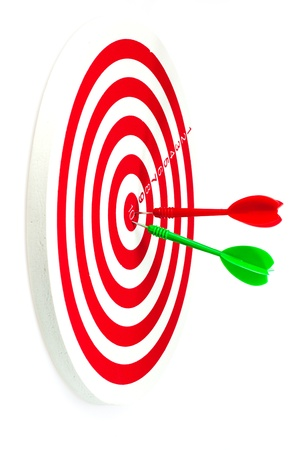 Isolated of the darts hit target on the white background photo