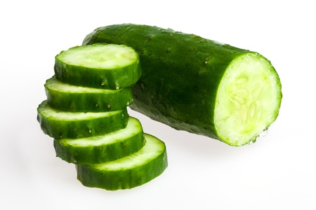 Close-up of slided Japanese cucumber Stock Photo