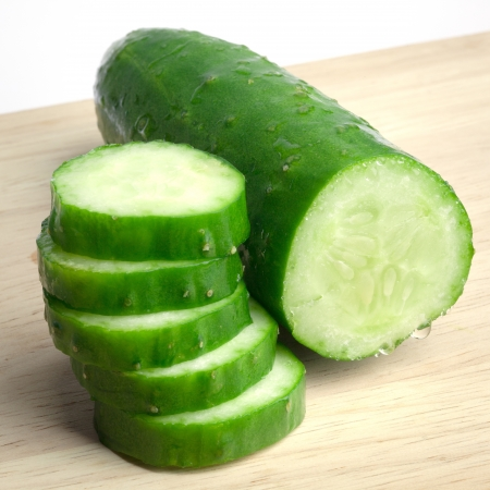 Close-up of slided Japanese cucumber Banque d'images