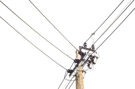 Electricity wire line with white bright sky photo