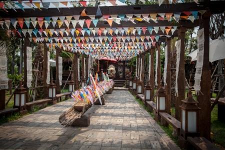 costum: Colorful flag line decorage for Songkran festival Editorial