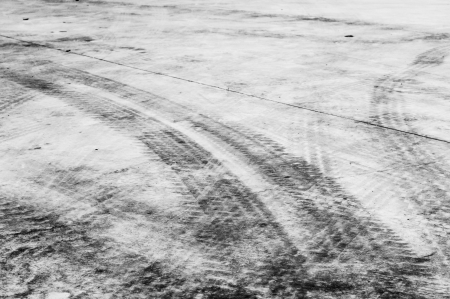 Texture of wheel tracking in black and white color tone Stock Photo - 20927770