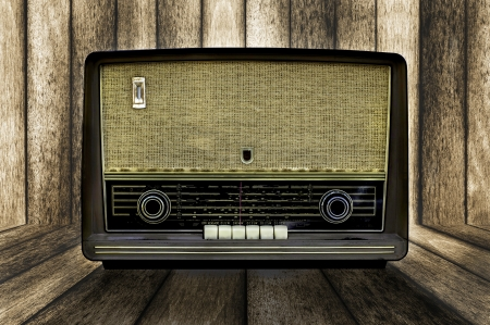 Vintage radio blended on wooden wall texture background Stock Photo