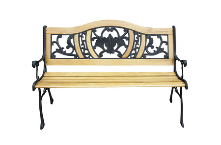 Wooden bench on isolated white photo