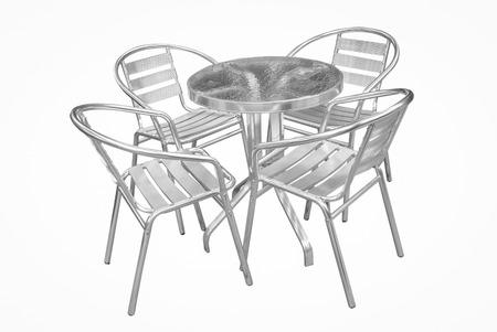 Reihe Von Metall-Gartenstühle Auf Holzplattform Im Garten ...