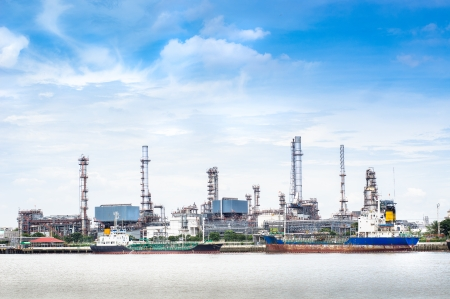 Petroleum oil refinery factory near riverside in Thailand photo