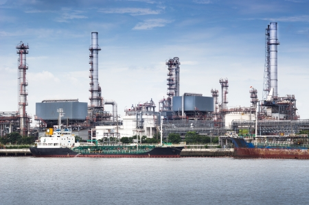 Petroleum oil refinery factory on riverside in Thailand Stock Photo