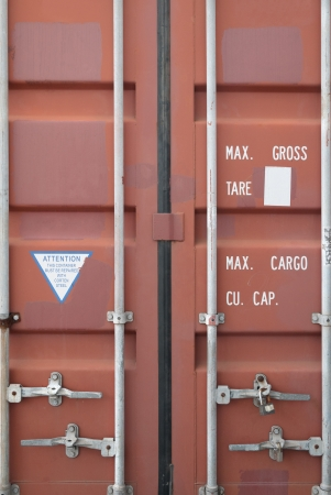 Rusty orange container doors photo