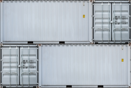cargo container: Perspective of gray container
