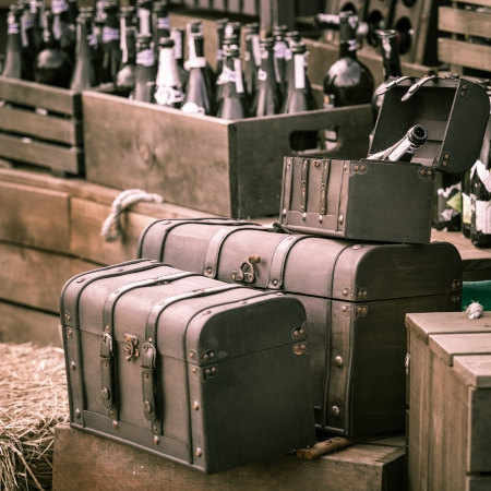 Old vintage leather luggages Stock Photo