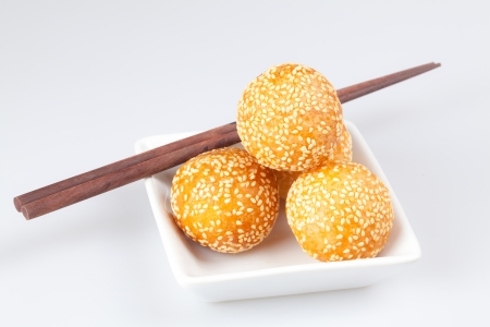 Thai dessert, sesame balls in white plates Stock Photo