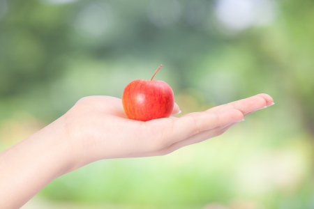 out of focus: Apple in female hand with green out focus background Archivio Fotografico