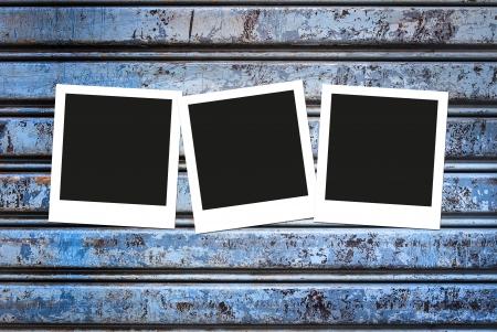 Polaroid frames on grunge corrugated metal Stock Photo - 23937824