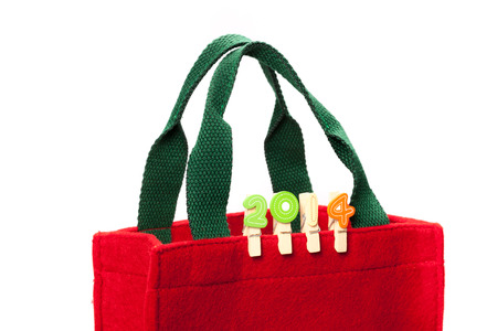 clop: Xmas shopping bag with number 2014 decorated in Xmas theme Stock Photo