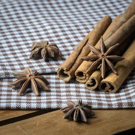 cinnimon: anise and cinamon pn cross table cloth Stock Photo