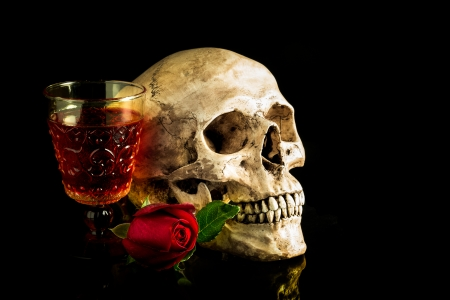 Still life with human skull with red rose bud and vintage glass of wine, reflect on black background Stock Photo - 25175204