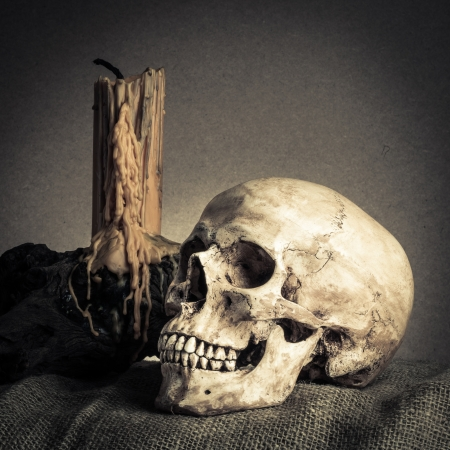 Still life with skull near old book and yellow candle on the log photo