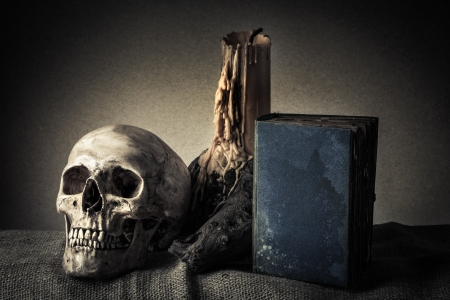 log book: Still life with skull near old book and yellow candle on the log